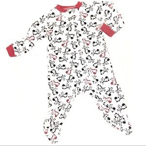 Kidgets Red white and black zebra Footy pajamas